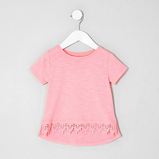 Mini girls pink fluro crochet hem T-shirt