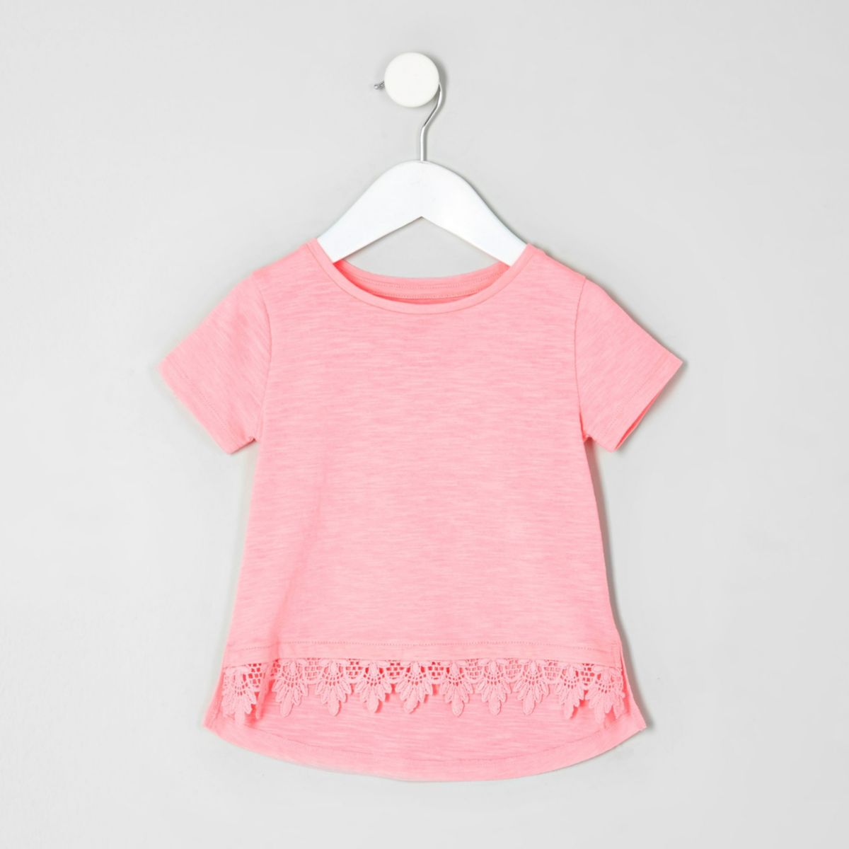 T-shirt rose fluo avec bordure au crochet mini fille