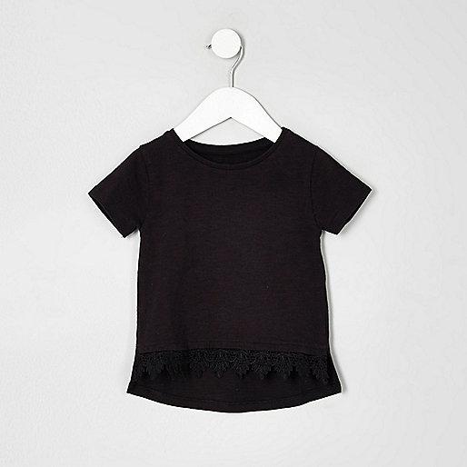 Mini girls black crochet hem T-shirt