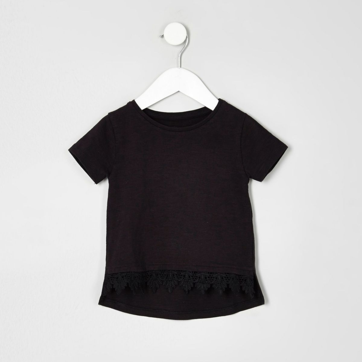 Mini girls black crochet hem T-shirt