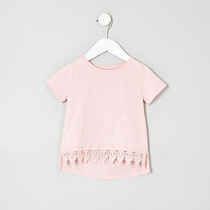 Mini girls light pink crochet hem T-shirt