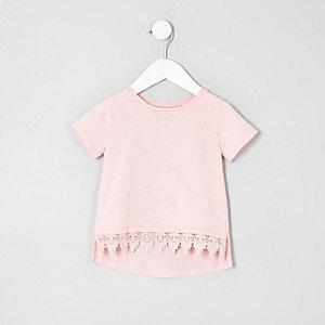 Mini - Lichtroze T-shirt met gehaakte zoom voor meisjes