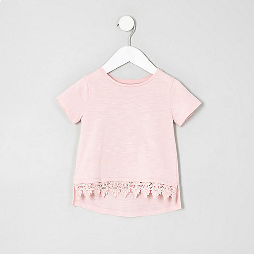 Mini girls light pink crochet hem T-shirt