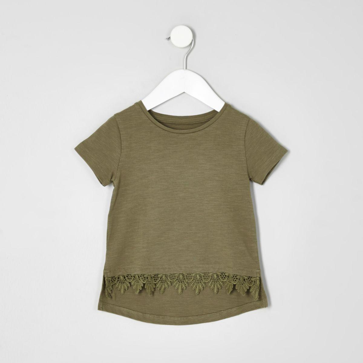 t shirt kaki avec bordure au crochet mini fille tops. Black Bedroom Furniture Sets. Home Design Ideas