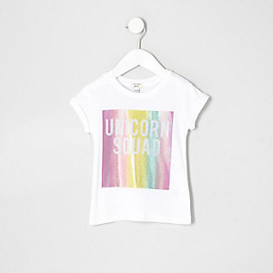 Mini girls white 'unicorn squad' T-shirt