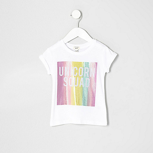 Mini girls white 'unicorn squad' T-shirt