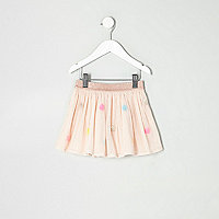 Mini girls cream mesh sequin spot tutu skirt