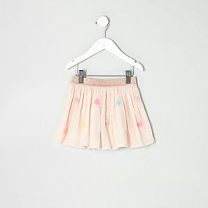 Mini girls cream mesh sequin spot tutu skirt