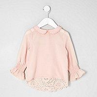 Mini girls pink peter pan collar lace top