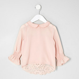 Mini girls pink peter pan collar lace top