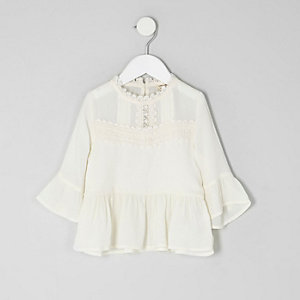 Mini girls cream lace peplum hem top