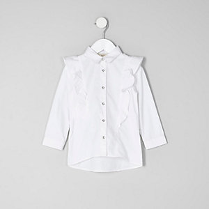 Mini girls white frill long sleeve shirt
