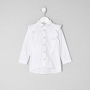Mini - Wit overhemd met ruches en lange mouwen voor meisjes