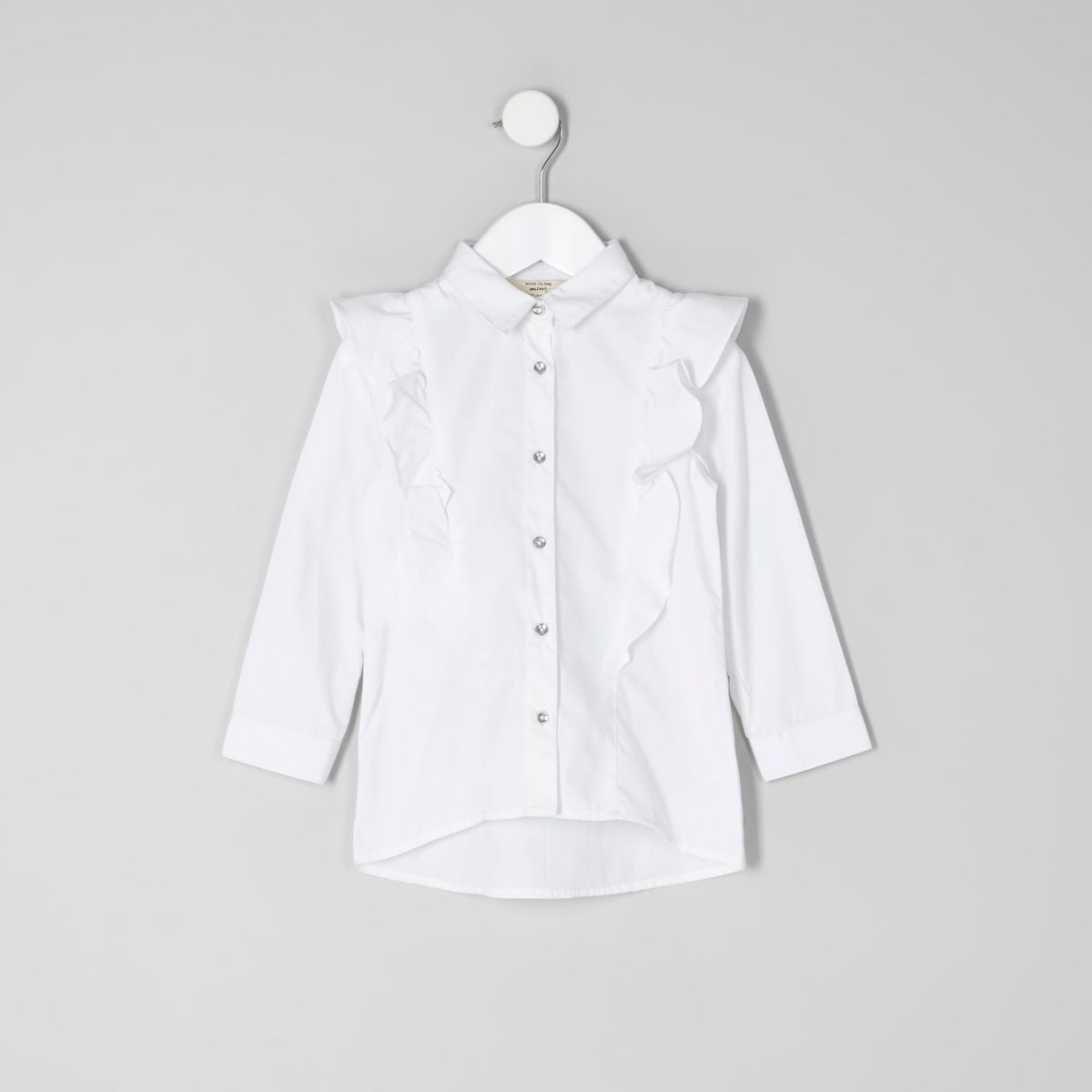 Mini girls white frill long sleeve shirt