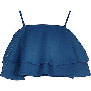 Girls blue frill cami crop top