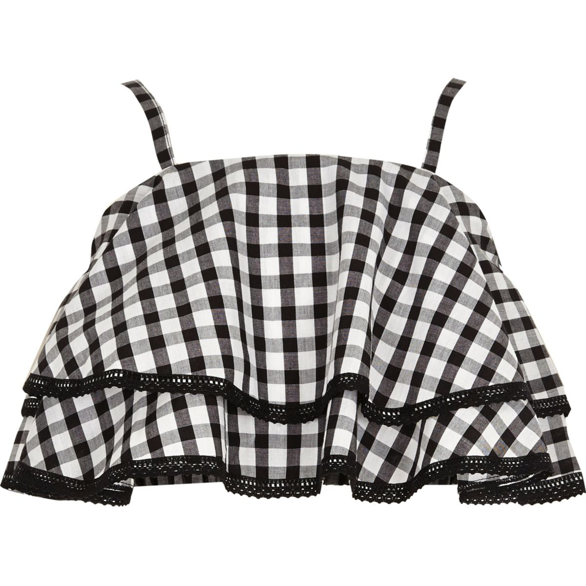 Girls black gingham frill lace cami top