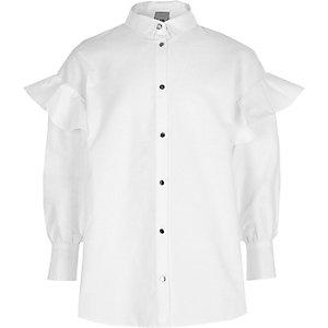Wit overhemd met ruches aan de mouwen voor meisjes