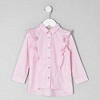 Mini girls pink frill long sleeve shirt
