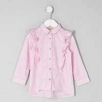 Mini girls pink frill long sleeve shirt