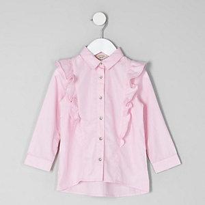 Chemise rose à manches longues et volant mini fille