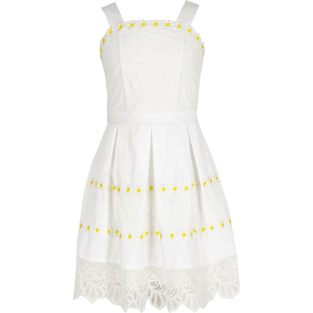 Robe de gala à fleurs blanche avec ourlet en dentelle pour fille