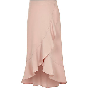 Girls pink frill wrap maxi skirt