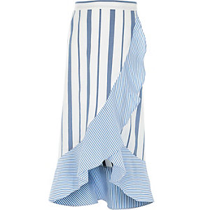 Girls blue stripe print frill maxi skirt