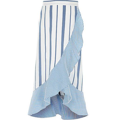Girls blue stripe print frill maxi skirt