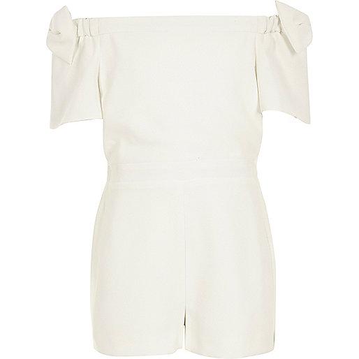 Girls white bow sleeve playsuit