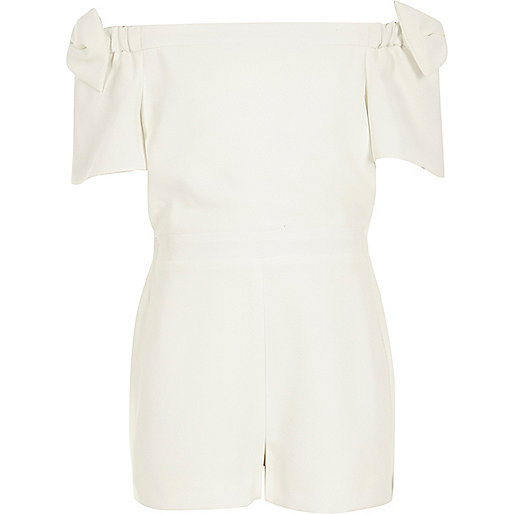 Girls white bow sleeve romper
