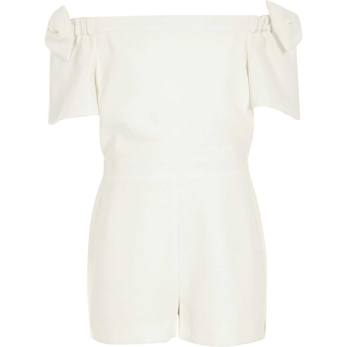 Girls white bow sleeve playsuit