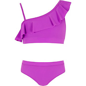 Paarse bikini met blote schouder en ruches voor meisjes