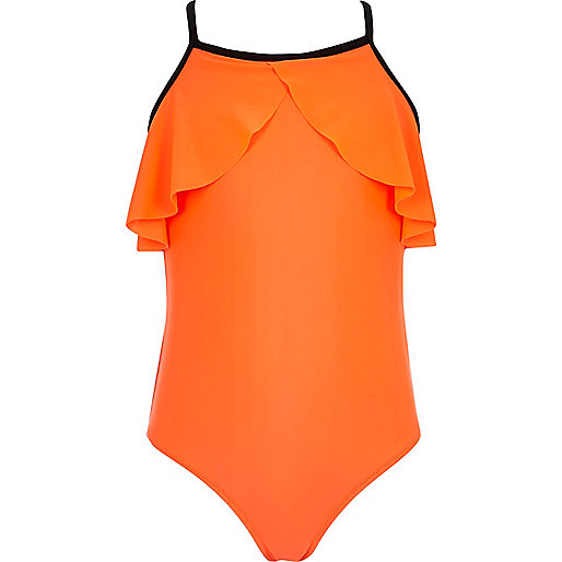 Girls coral frill front swimsuit