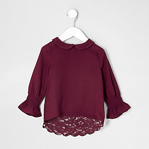 Mini girls red peter pan collar lace top