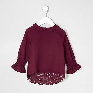 Mini - Rode top met kant en rond kraagje voor meisjes
