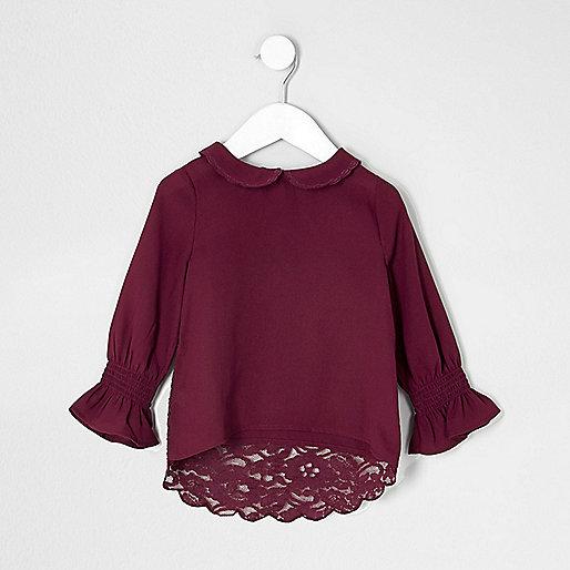 Mini girls red peter pan collar lace top