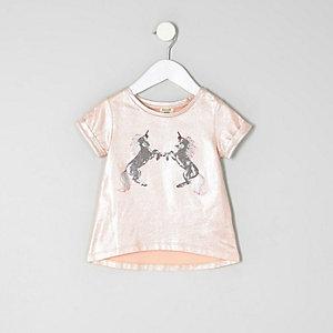 Einhorn-T-Shirt in Pink-Metallic