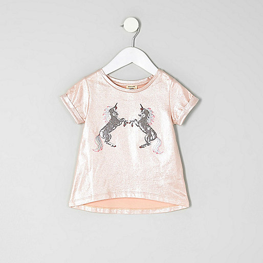 Mini girls pink metallic unicorn T-shirt