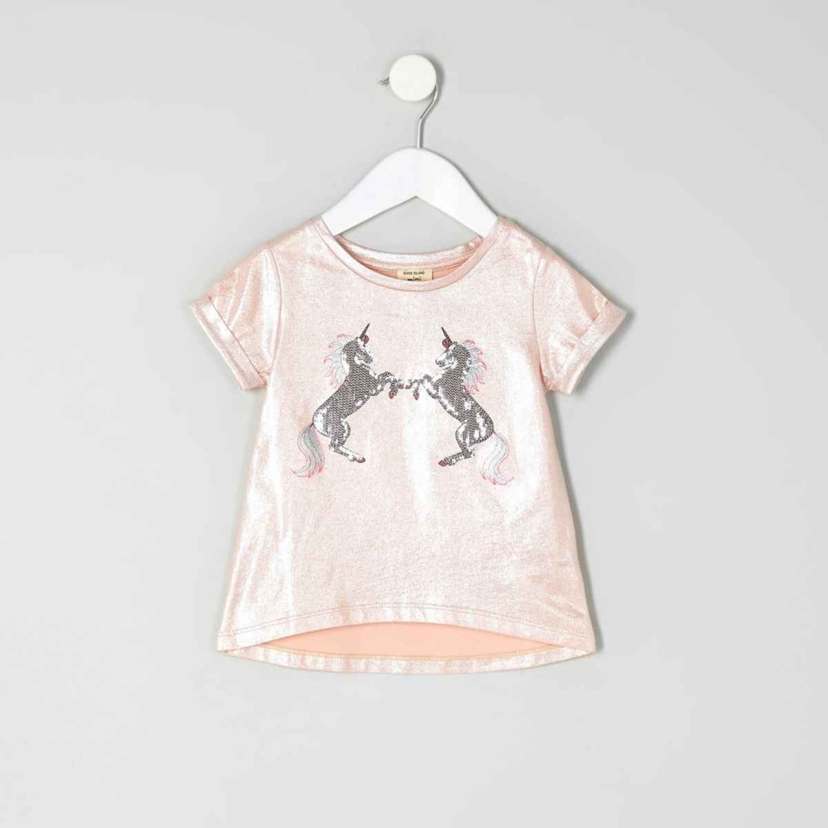 Mini girls pink metallic unicorn T-shirt