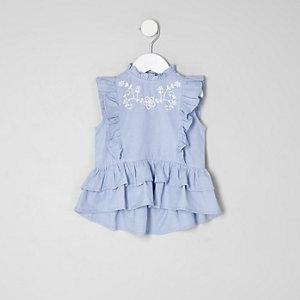 Haut péplum bleu à volants mini fille