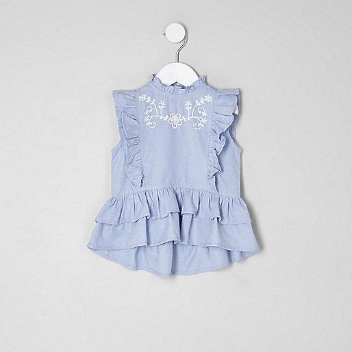 Mini girls blue frill peplum top