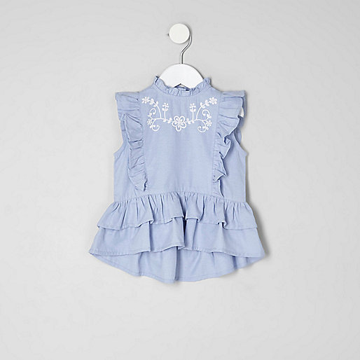 Mini girls blue frill peplum top