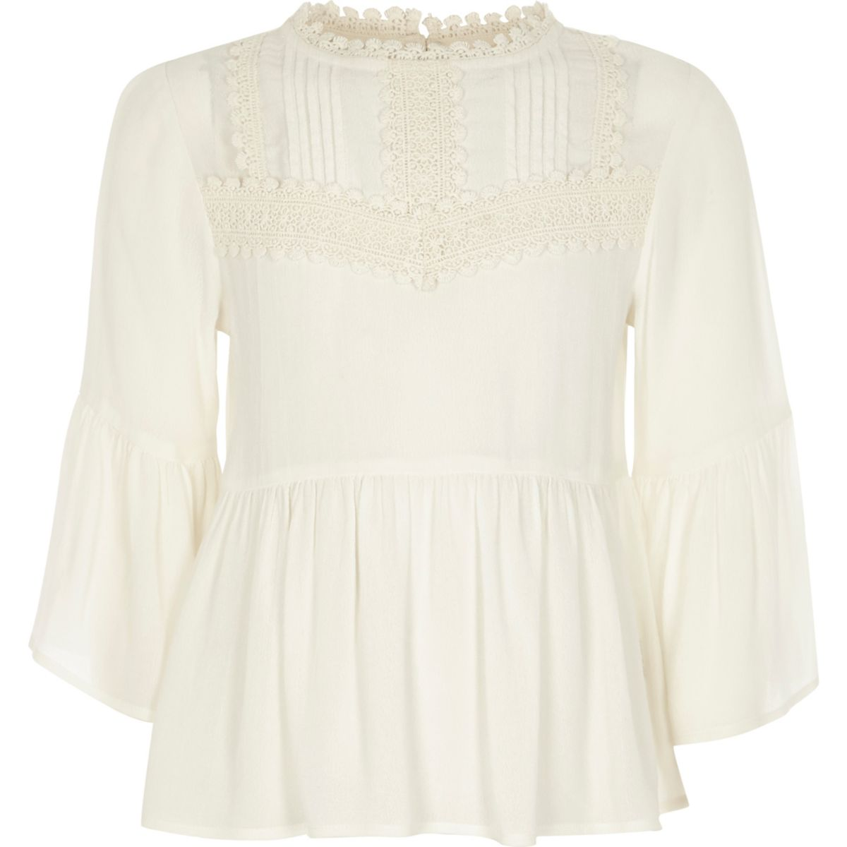 Girls cream peplum bell sleeve top