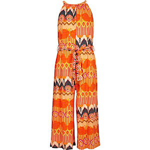 Girls orange aztec culotte jumpsuit