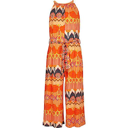 Girls orange aztec culotte jumpsuit