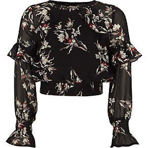 Girls black chiffon floral frill crop top