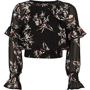 Crop top en mousseline noire imprimé à fleurs avec volants fille