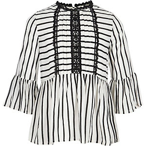 Girls white stripe lace trim peplum top