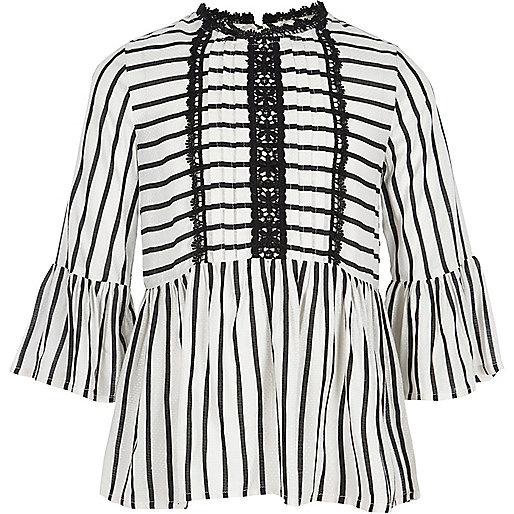 Girls white stripe lace trim peplum top