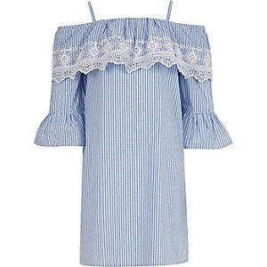 Girls blue stripe broderie bardot dress